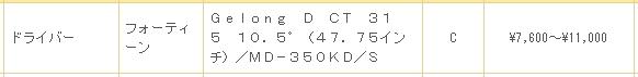 ゴルフパートナーのフォーティーン ゲロンディーCT-315の買取価格